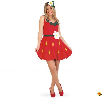 Damen Kostüm Erdbeere Mrs. Strawberry Emily, Kleid