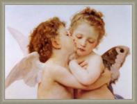 Bouguereau - The first kiss: Leinwand Repro Engel