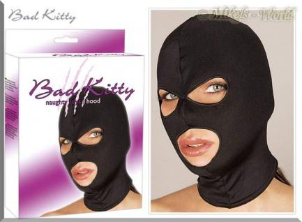 Bad Kitty - Gothic Kopfmaske mit Augen- und Mundöffnungen schwarz - Gr. S-L