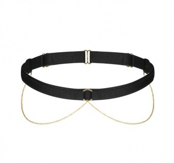 Noir Handmade - Edles Samt Strumpfband mit goldfarbenen Ketten schwarz - One Size