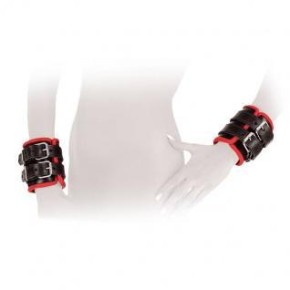 Ledapol - Echt Leder Bondage Handfessel Paar schwarz-rot - Gr. S-L