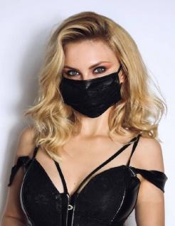 Stylische Wetlook Stoff-Maske mit dekorativer Spitze schwarz
