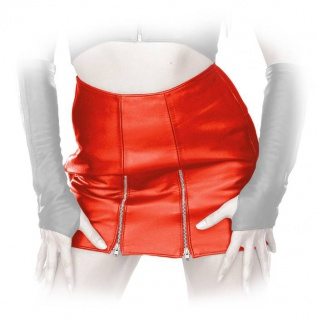 Ledapol - Kurzer Echt Leder Minirock mit zwei Front-Zips
