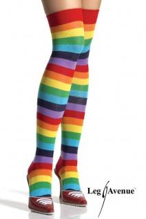 Leg Avenue - Halterlose Ringel-Strümpfe Regenbogen Farben - Gr. S-L