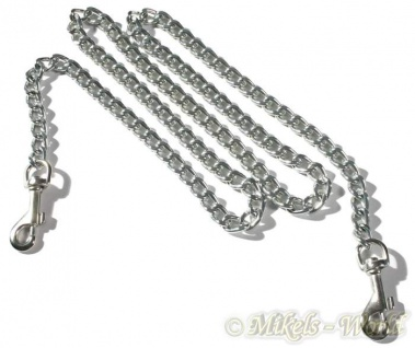 Ledapol - Glänzende Bondage Metallkette mit Karabinerhaken silber