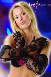 Leg Avenue - Elegante lange Spitzen Handschuhe schwarz - Gr. S-L