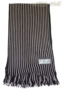 Weicher Unisex Strickschal mit Fransen schwarz-rose - Nr. 2