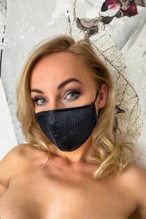 Stylische Wetlook Stoff-Maske mit Mesh Überzug schwarz