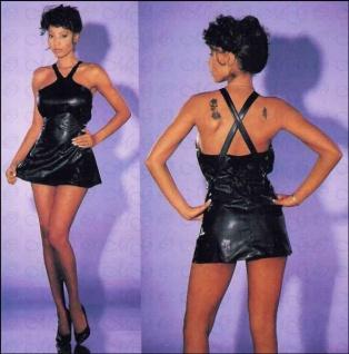 Sexy kurzes Leder Mini-Kleid schwarz - Gr. S-L