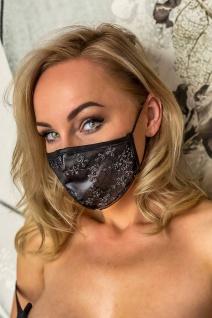 Stylische Wetlook Stoff-Maske mit Blüten Spitze schwarz