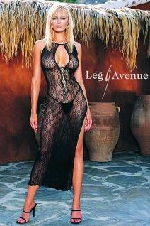 Leg Avenue - Hochgeschlitztes langes Negligé Kleid schwarz - Gr. S-L