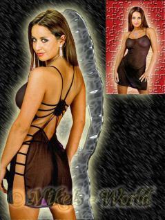 Negligé Kleid in Bänder Optik & String schwarz - Gr. S-L