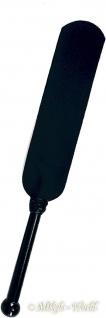 Ledapol - Echt Leder Spanking Klatsche / Paddel mit Holzgriff schwarz