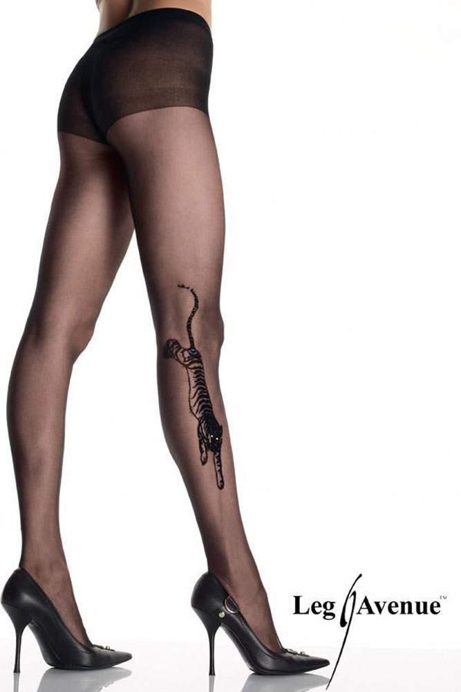 neues Konzept bee59 d5d32 Leg Avenue - Strumpfhose mit Strass Tiger Tattoo schwarz - Gr. S-L