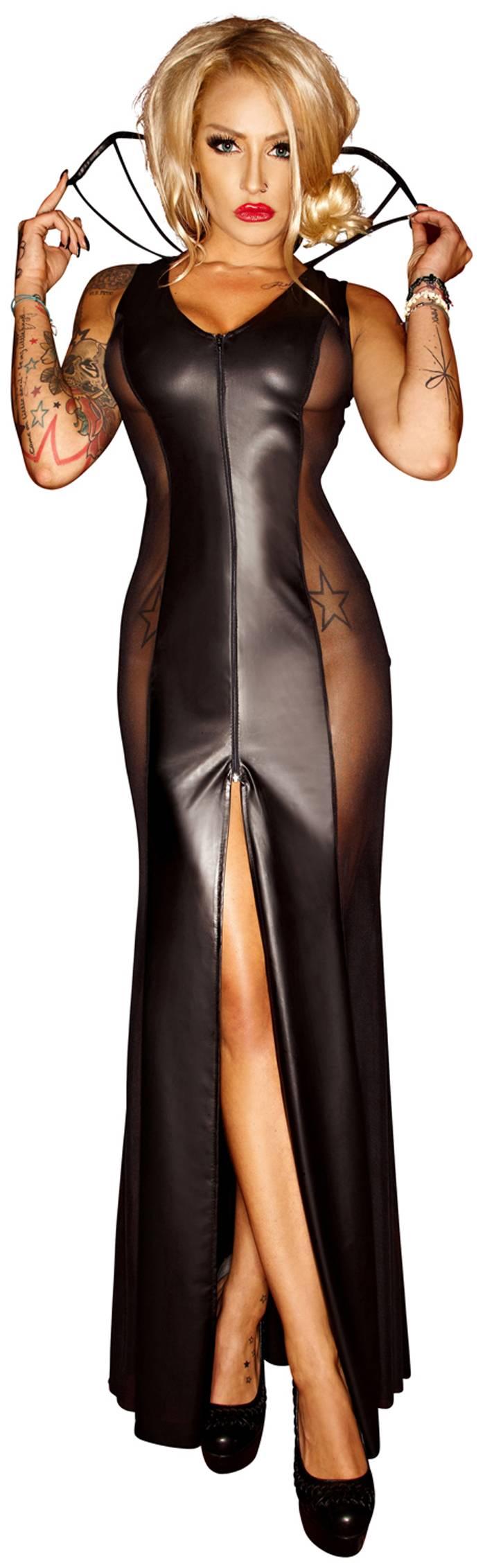 2f52f51f0f Noir Handmade - Rassiges langes Wetlook Kleid mit Tüll schwarz ...