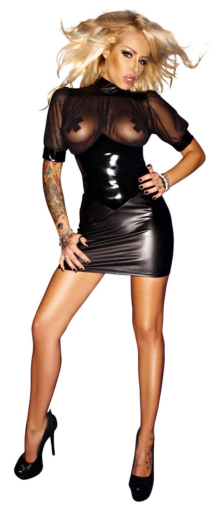 1c2630fac6 Noir Handmade - Tüll-Minikleid mit Wetlook und Lack schwarz - Kaufen ...
