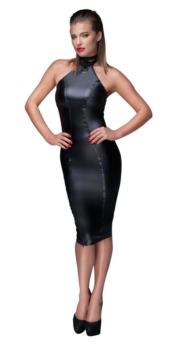 noir handmade - elegantes neckholder wetlook kleid knielang schwarz