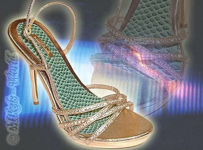 Strass Sandalette   Stiletto Jasmin Gold