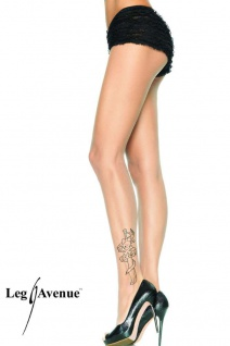 Leg Avenue - Strumpfhose mit Piraten-Tattoo hautfarben - Gr. S-L