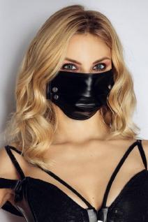 Stylische Wetlook Stoff-Maske mit aufregenden Nieten schwarz