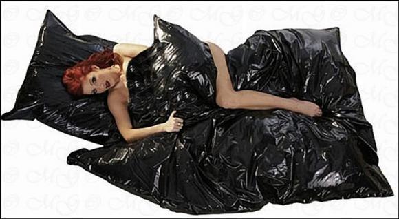 Lack Bettbezug / Bettdecke schwarz 135 x 200 cm - Vorschau