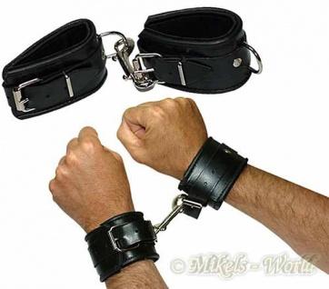 Leder Hand Fessel gepolstert schwarz