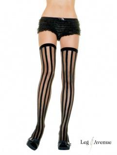 Leg Avenue - Halterlose Strümpfe in Streifen Optik schwarz-transparent - Gr. S-L
