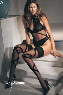 Leg Avenue - Luxus Body & Strümpfe Stripes schwarz - Gr. S-L