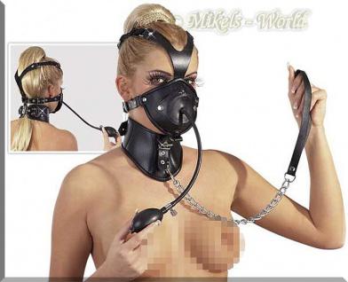 Bizarre Leder Kopfmaske mit Halsfessel