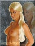 Langhaar Locken Perücke blond 60 cm - wie Echthaar