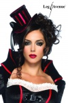 Leg Avenue - Deluxe Satin Hut im Burlesque Style rot-schwarz - Gr. S-L