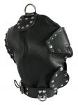 Ledapol - Echt Leder Hänge-Kopfmaske mit Augen- und Mundklappe schwarz - Gr. S-L