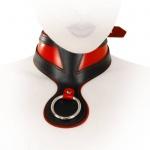 Ledapol - Echt Leder Fetisch Halsband Ring der O / Collar schwarz-rot - Gr. S-L