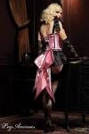 Leg Avenue - Asymmetrischer Satin Minirock mit Schleife schwarz-rosa - Gr. S-L