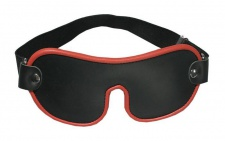 Ledapol - Echt Leder Bondage Augenmaske / Augenbinde schwarz-rot - Gr. S-L
