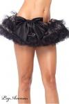 Leg Avenue - Tüll Minirock Petticoat mit Pailletten & Schleife schwarz - Gr. S-L