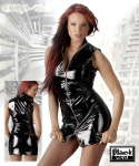 Scharfes Glanz Lack Kleid mit zweigeteiltem Reißverschluss schwarz