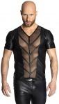 Noir Handmade - Scharfes Wetlook Shirt mit heißem Tülleinsatz schwarz