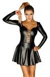 Noir Handmade - Exklusives heißes Langarm Minikleid mit Ösen schwarz