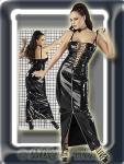 Sensationelles langes Lack Kleid schwarz-silber