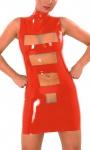 Anita Berg - Latex Zip-Minikleid zweifarbig mit Stehkragen
