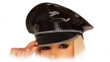 Ledapol - Glänzende Lack Schirmmütze schwarz mit Metallkette