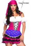 Leg Avenue - Zigeunerin Kostüm Minikleid mit Kopftuch pink-lila-weiß