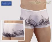 Effektvolle knappe Skyline Print Pants weiß-grau
