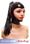 Anita Berg - Latex Zip-Kopfmaske mit Pferdeschwanz