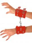 Ledapol - Breite Echt Leder Armfesseln / Handfesseln mit Karabinerhaken