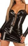 Ledapol - Heißes Lack Schnür Mini-Kleid mit Zip
