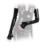 Anita Berg - Lange fingerlose Latex Zip-Handschuhe