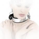 Ledapol - Echt Leder Bondage Halsband in Chrom-Optik