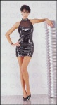 Ledapol - Erotik Neckholder Lack Mini Kleid ultrakurz schwarz